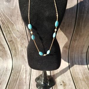 Golden Pearl & Turquoise Necklace